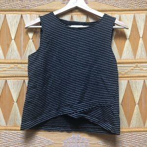 Madewell Black & White Striped Crop Tank XS